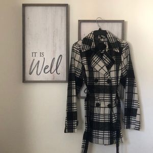 Black and White Plaid Trench Coat